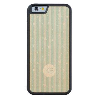 Soft Aqua Girly Stripes and Personalization Maple iPhone 6 Bumper Case