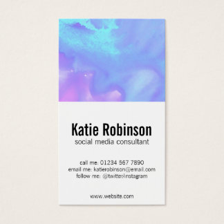 Soft Aqua, lilac and pink watercolor Business Card
