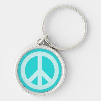 Soft Aqua Peace Symbol Keychain