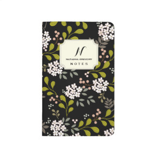 Soft Aqua Woodland Floral Personalized Journal