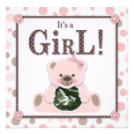 Soft as a Teddy Bear Girl Invitation Square