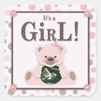 Soft as a Teddy Bear Girl Square Sticker