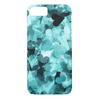Soft Baby Blue Kawaii Hearts Background iPhone 7 Case