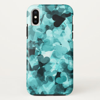 Soft Baby Blue Kawaii Hearts Background iPhone X Case