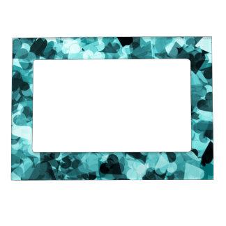 Soft Baby Blue Kawaii Hearts Background Magnetic Frame