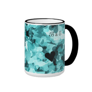 Soft Baby Blue Kawaii Hearts Background Ringer Coffee Mug