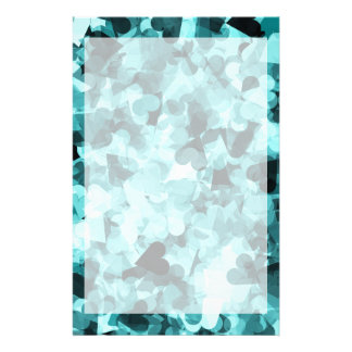 Soft Baby Blue Kawaii Hearts Background Stationery