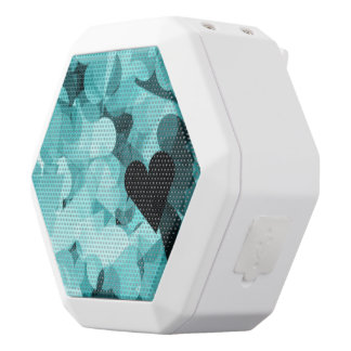 Soft Baby Blue Kawaii Hearts Background White Bluetooth Speaker