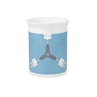 Soft Baby Blue White Gray Geometric Pattern Beverage Pitcher