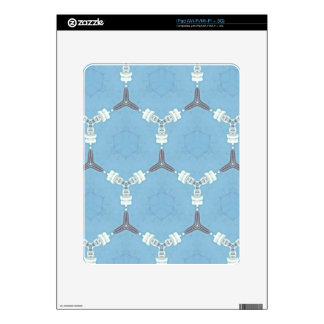 Soft Baby Blue White Gray Geometric Pattern Decal For iPad