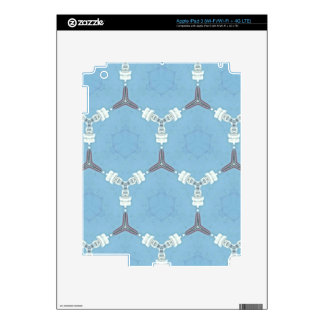 Soft Baby Blue White Gray Geometric Pattern Decal For iPad 3
