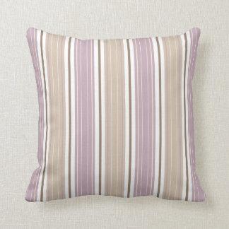 Soft Beach Plum & Tan on White Shabby Chic Stripes Throw Pillow