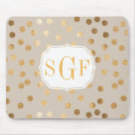 Soft Beige and Gold Glitter City Dots Mouse Pad