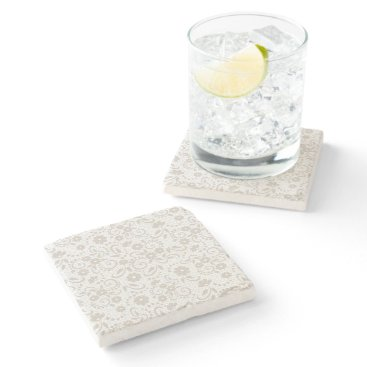 Beach Themed Soft beige and white floral stone coaster