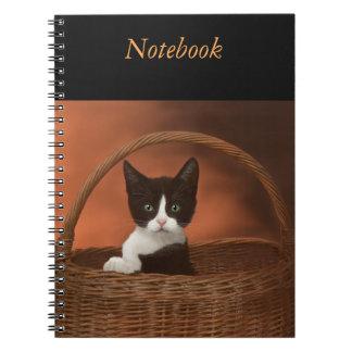 Soft Black & White Kitten in a Basket Notebook
