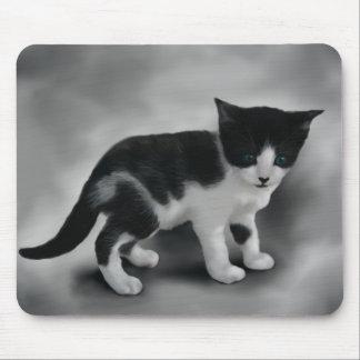 Soft Black & White Kitten Mouse Pad