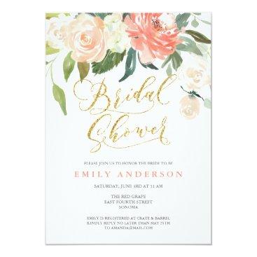 PaperDahlia Soft Bloom Peach Floral Bridal Shower Invitation
