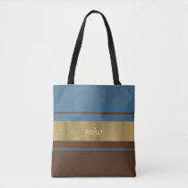 Soft Blue and Brown Tote Bag