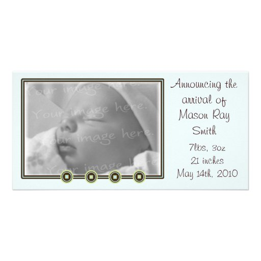 Soft Blue and Green Baby Announcement Photo Card