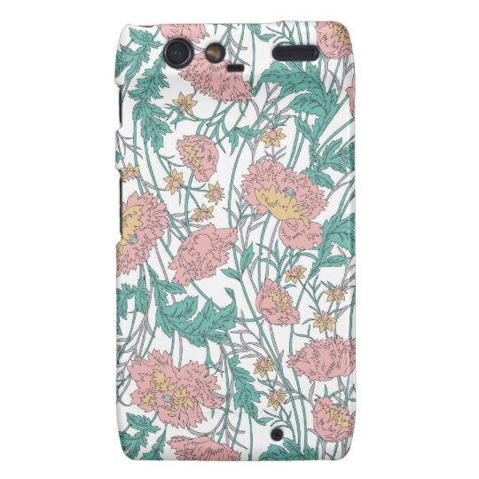 Soft blue and pink elegant floral pattern. motorola droid RAZR cover