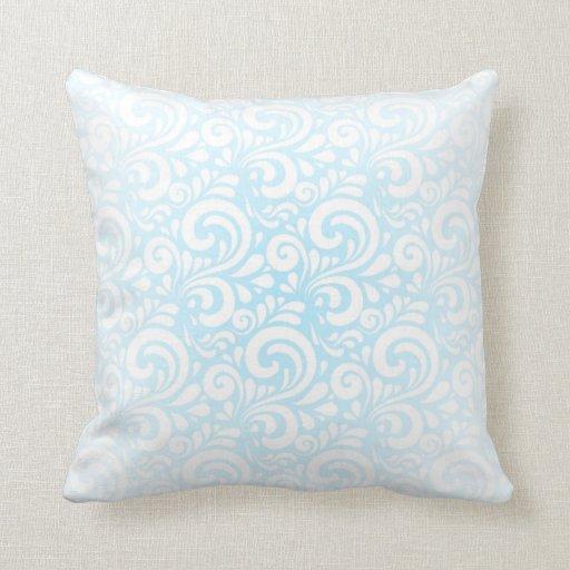 Soft Blue and White Swirls Throw Pillow Zazzle