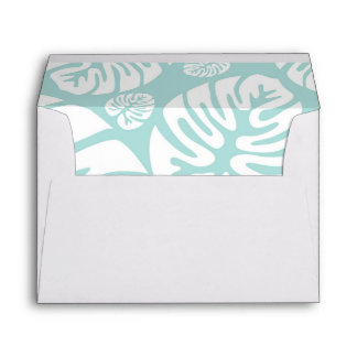 Soft Blue and White Tropical Leaves Wedding Envelope