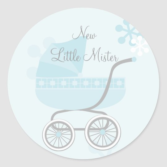 Soft Blue Baby Buggy Classic Round Sticker