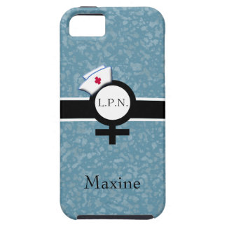 Soft Blue/Black/White+Female Sign+Nurse Cap/Name iPhone SE/5/5s Case