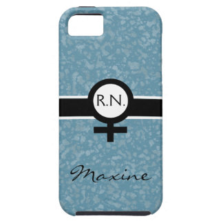 Soft Blue/Black/White+Female Sign+Nurse Name iPhone SE/5/5s Case