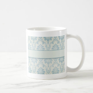 Soft Blue Damask With White Label Coffee Mug