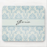 Soft Blue Damask With White Label Mousepads
