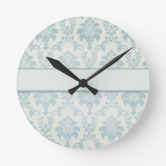 Soft Blue Damask With White Label Round Clock