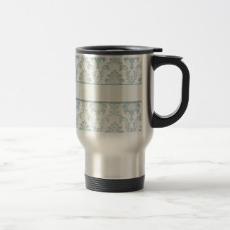 Soft Blue Damask With White Label Travel Mug
