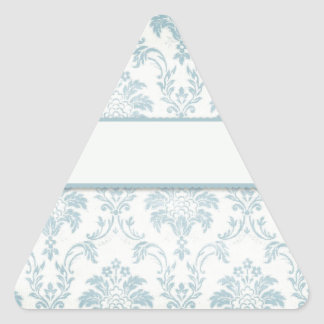 Soft Blue Damask With White Label Triangle Sticker