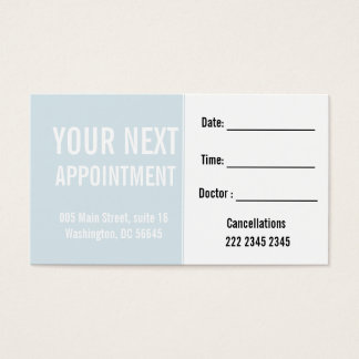 Soft Blue Engaging Patient Client  Appointment Business Card