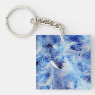 Soft Blue Feather Boa Keychain