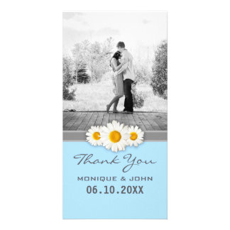Soft Blue Floral Wedding Daisies Thank You Card