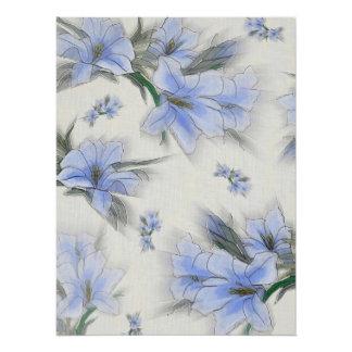 Soft Blue Flower Breeze Poster