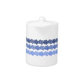 Soft Blue Flower Lace Teapot