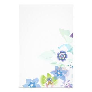 Soft Blue Flowers - Stationary - 3 Customized Stationery
