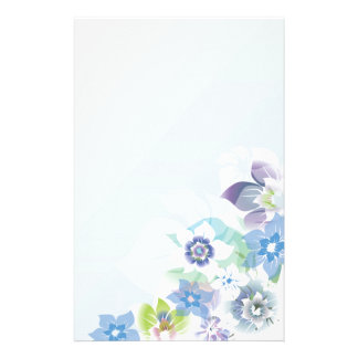 Soft Blue Flowers - Stationary - 4 Stationery Paper