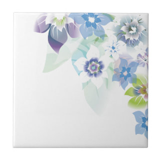 Soft Blue Flowers - Trivit - 1 Ceramic Tile