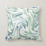 Soft Blue Green Watercolor Swirl Abstract Throw Pillow