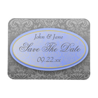"""Soft Blue & Grey Damask """"Save The Date"""" Rectangle Magnet"""
