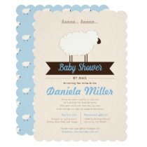 Soft Blue Little Lamb Baby Shower by Mail Invitation