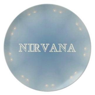 "Soft Blue ""Nirvana"" Lighted Patterns Dinner Plate"