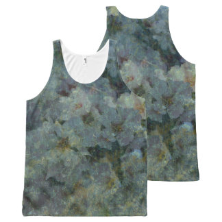 Soft Blue Orchard impressionist floral design All-Over-Print Tank Top