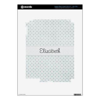Soft Blue Polka Dots Stitched Vellum iPad 3 Skin