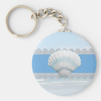 Soft Blue Seashell And Lace Basic Round Button Keychain