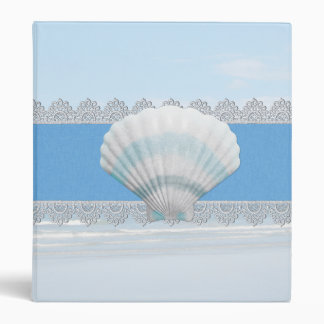 Soft Blue Seashell And Lace Binder